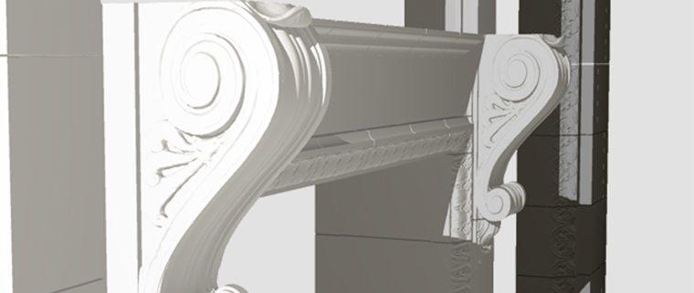 3D Models, Delaware Court Building, Boston Valley Terra Cotta, restoration architecture