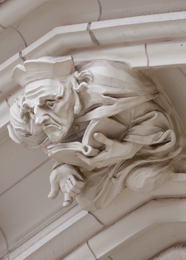 Detail shot of City College in New York, Restoration, Architect Fuller & D'Angelo, Terra Cotta Masonry, Sculpture