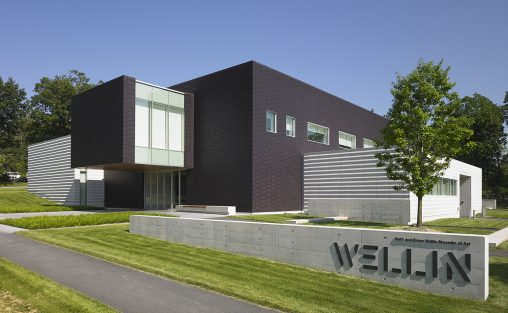 Hamilton College, Wellin Museum of Art TerraClad Rainscreen with an extruded ribbed texture in matte purple custom glaze. Designed by Machado Silvetti.