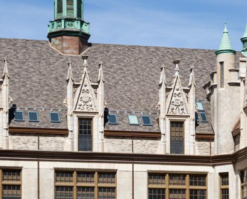 The neo-Gothic Artspace Lofts, El Barrio P.S. 109, an awarding winning architectural terra cotta masonry restoration in New York City.