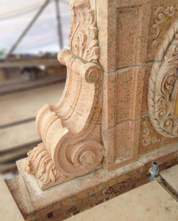 Marion Palace Theatre, terra cotta restoration, hand-press, custom glaze, Marion, Ohio, Boston Valley Terra Cotta