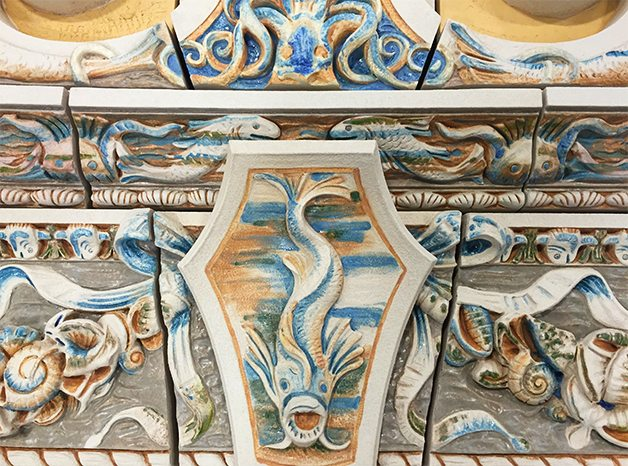 Custom Glazes, Nautical Motif, Coney Island Boardwalk, Boston Valley Terra Cotta