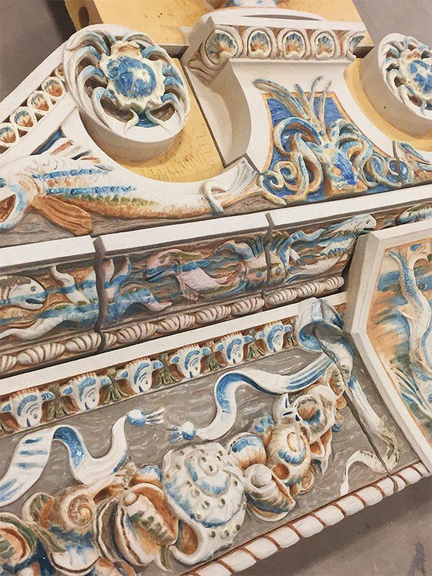 Custom Glazes, Terra Cotta Restoration, Coney Island Childs Restaurant, Boston Valley