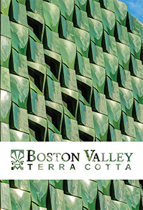 The front cover of the Ringling Center for Asian Art case study brochure featuring a close-up shot of its deep green TerraClad facade, one of Boston Valley's projects