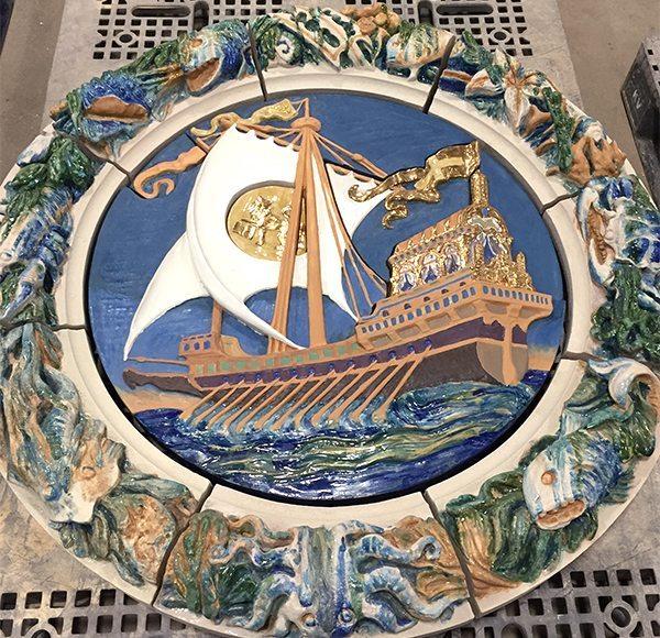 Seaside, Terra Cotta, Custom Glaze, Hand Glazed, Coney Island, Boston Valley Terra Cotta