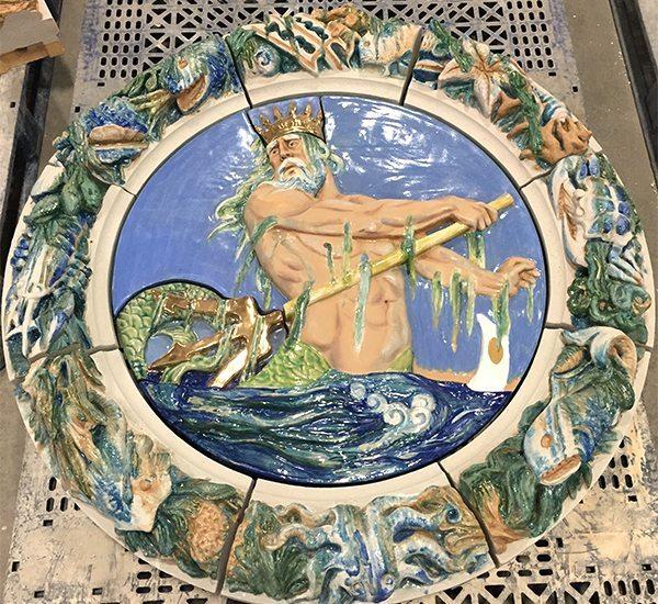 Boston Valley Terra Cotta, Seaside, Poseidon, Terra Cotta Restoration