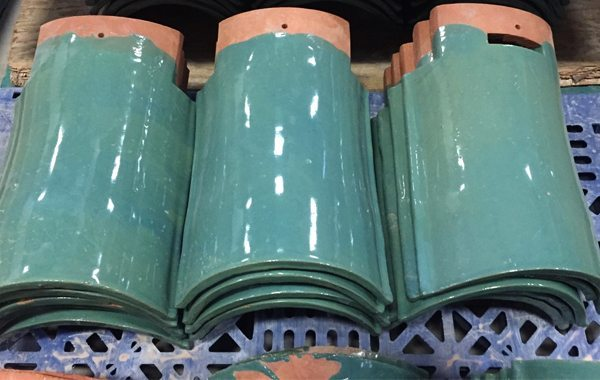 Custom glazed roof tiles, Boston Valley, Green glaze, Rhode Island, Chinese Teahouse