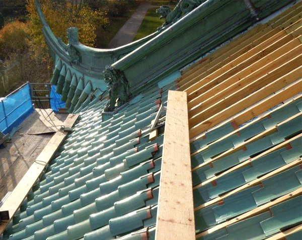 Chinese Teahouse, Vanderbilt, Belmont, Newport, Terra Cotta roof tiles, Custom glazed, Boston Valley