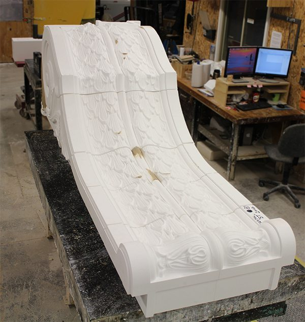 5-axis CNC router, Boston Valley Terra Cotta, Foam Mold, Restoration, Capitol Theatre, Flint Michigan
