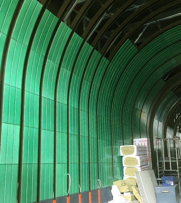 Newman & Rathbone passageway, London, UK, Boston Valley Terra Cotta, bespoke, Green glaze, Custom glaze