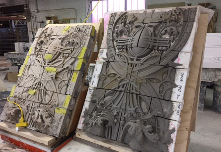 Masonry in production for the Gage Building at Boston Valley Terra Cotta