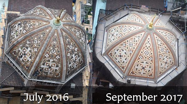 St. Bart's Dome, New York City, Boston Valley Terra Cotta, Restoration, Comparison, Custom Glaze, Mock-up