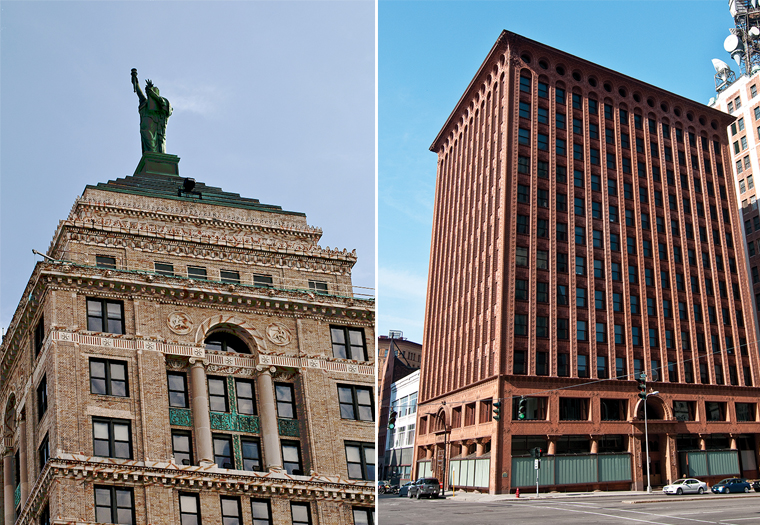 Liberty Bank Building, Alfred C. Bossom, Guaranty Buildingm Adler and Sullivan, Prudential Building, Architectural terra cotta, restoration