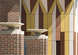 Florida State University, Doak Campbell Stadium Mural, Restoration, Extrusion, Boston Valley Terra Cotta, Terra Cotta Wall Mural, Masonry, Masonry Incorporated, Elliott Marshall Innes, P.A., EMI