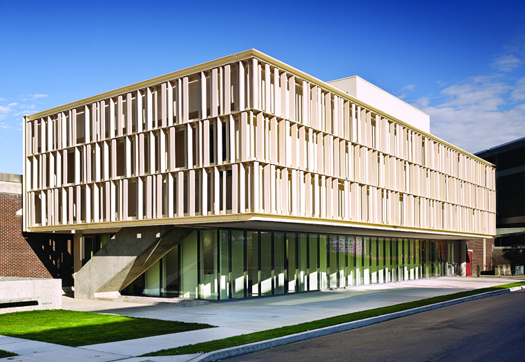 ikon.5 architects, McGee Pavilion, School of Art and Design, Alfred University, TerraClad® Sunshade, Through body color, Boston Valley Terra Cotta