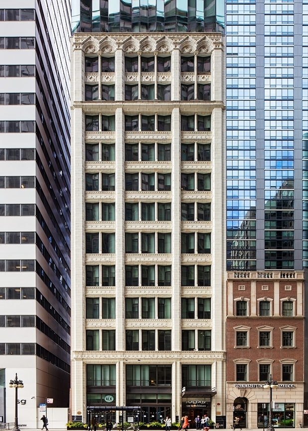 The eastern elevation of 168 North Michigan Avenue in Chicago IL featuring terra cotta masonry created by Boston Valley