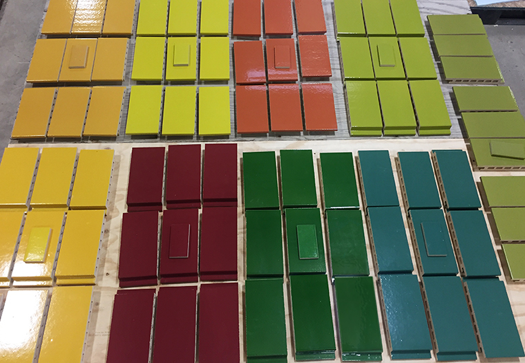 A display of the colorful glazes used in Selldorf Architects' 14th Street Corridor, Whitman-Walker Center in Washington DC
