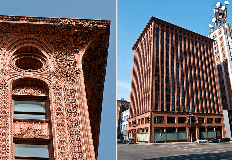 Guaranty Building, Buffalo, NY, is clad in terra cotta masonry. Boston Valley worked with Flynn Battaglia to restore the façade.