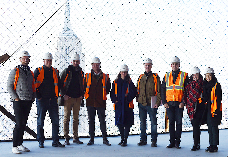 Kohn Pedersen Fox associates at One Vanderbilt during a Boston Valley Terra Cotta site visit, courtesy of construction manager Tishman,