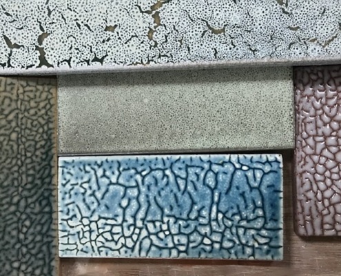 Sample tiles of specialty glazes that are currently in development at the Matter Factory.