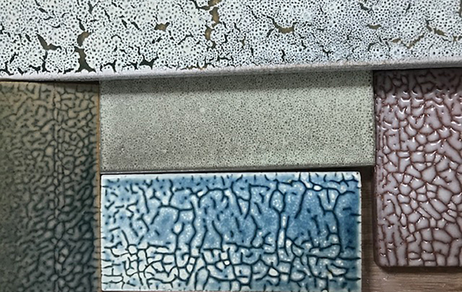 Specialty glazes developed at Boston Valley Terra Cotta's off-site glaze lab by Andy Brayman with recycled materials