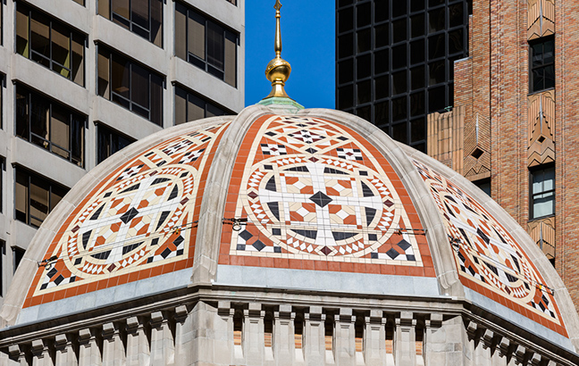 The decorative rooftop on St Bartholomew's Dome. In 2018, this restoration project won the Lucy G. Moses Preservation Project award from The New York Landmarks Conservancy.