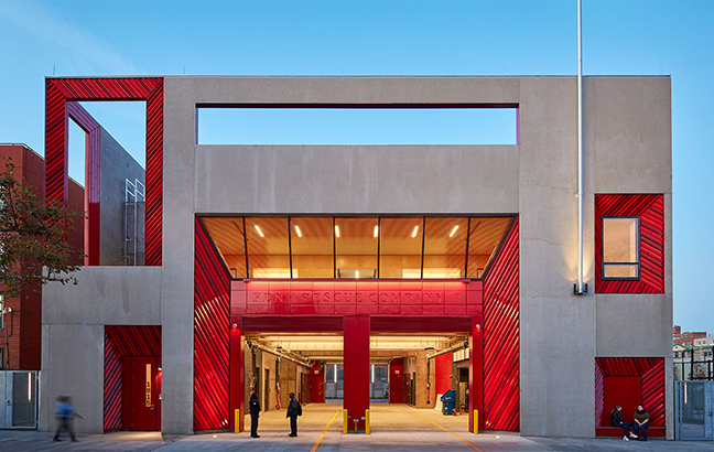 FDNY in Brooklyn, NY, is a Studio Gang designed fire company with stunning red terra cotta portals.
