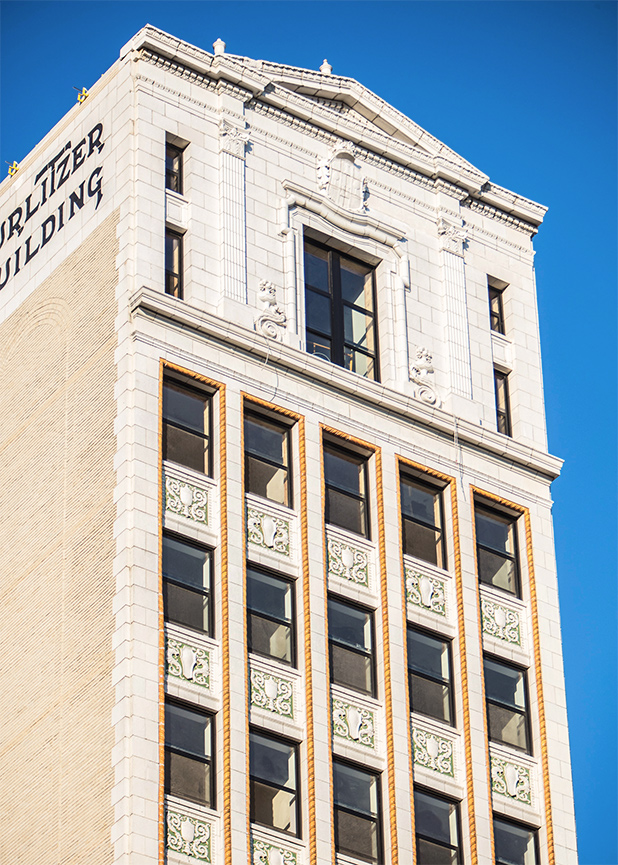 The Wurlitzer Building in Detroit, MI, recently restored by Grunwell Cashero, with terra cotta masonry work produced by Boston Valley Terra Cotta