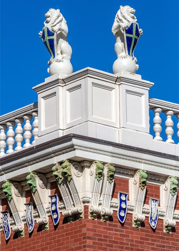 Audrain Building Restoration, Newport RI, Terra Cotta Masonry, Newport Collaborative Architect, Parker Construction